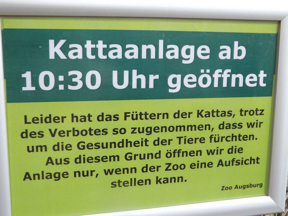 Hinweis Kattaanlage (Zoo Augsburg)
