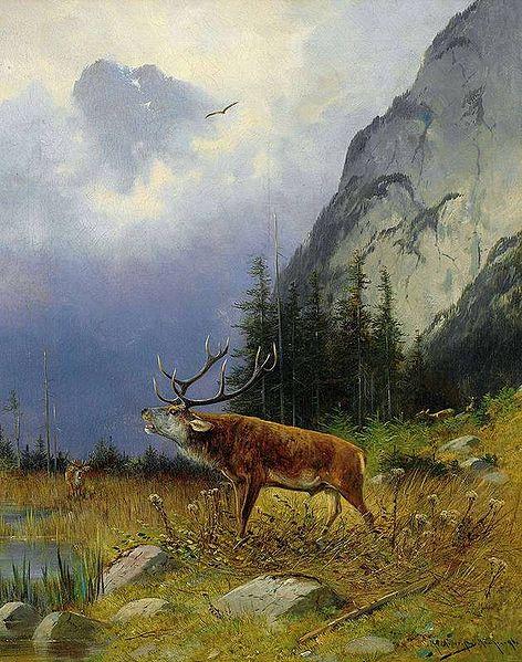 Röhrender Hirsch auf einer Lichtung vor Fels (Moritz Müller, 1896)
