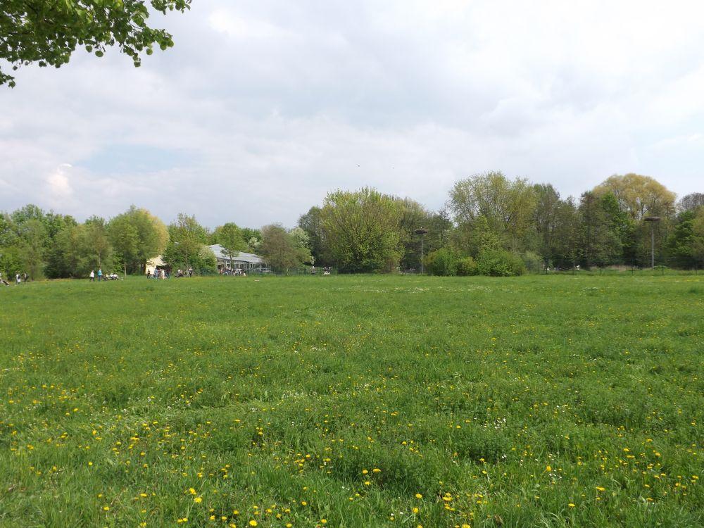 Blick auf Storchenwiese und Donauaquarium (Tiergarten Straubing)