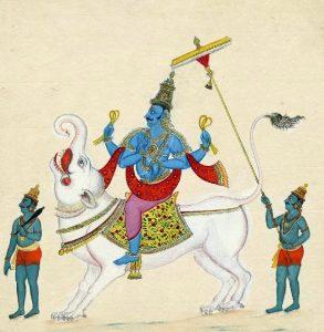 Der indische Flussgott Varuna auf seinem Makara