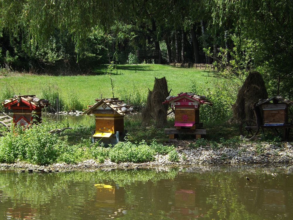 Bienenkörbe am Teich (Wildpark Poing)