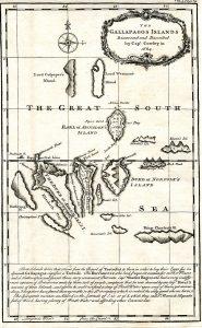 Karte der Galapagosinseln wie von William Ambrose Cowley 1684 beschrieben