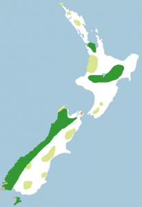 Historische Verbreitung des Kakapos (hellgrün: fossile Funde)